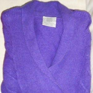 Vintage Silk Angora Pullover Purple Cable Sweater